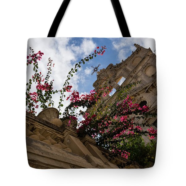 Tote Bag featuring the photograph Sky Blossoms by Georgia Mizuleva