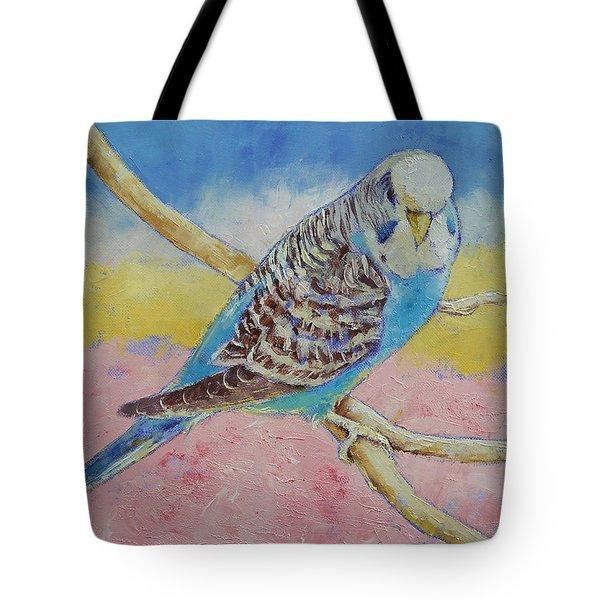 Sky Blue Budgie Tote Bag