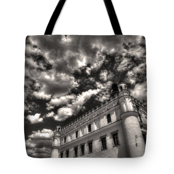 Tote Bag featuring the photograph Sky Breaker In Black And White by Julis Simo