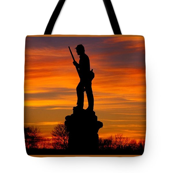 Sky Fire - 128th Pennsylvania Volunteer Infantry A1 Cornfield Avenue Sunset Antietam Tote Bag by Michael Mazaika