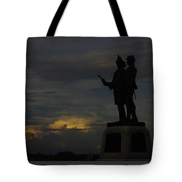 Sky Fire - 73rd Ny Infantry 4th Excelsior 2nd Fire Zouaves - Summer Evening Thunderstorms Gettysburg Tote Bag by Michael Mazaika