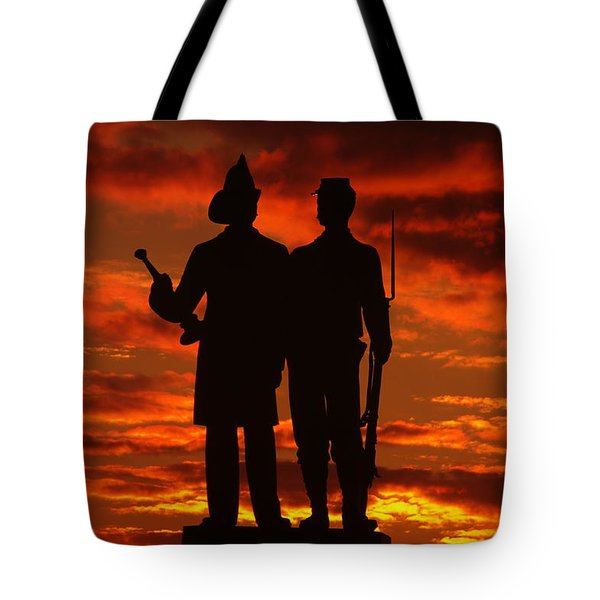 Sky Fire - 73rd Ny Infantry Fourth Excelsior Second Fire Zouaves-a1 Sunrise Autumn Gettysburg Tote Bag by Michael Mazaika