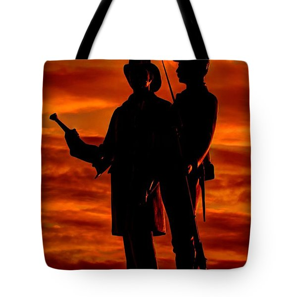 Sky Fire - 73rd Ny Infantry Fourth Excelsior Second Fire Zouaves-b1 Sunrise Autumn Gettysburg Tote Bag