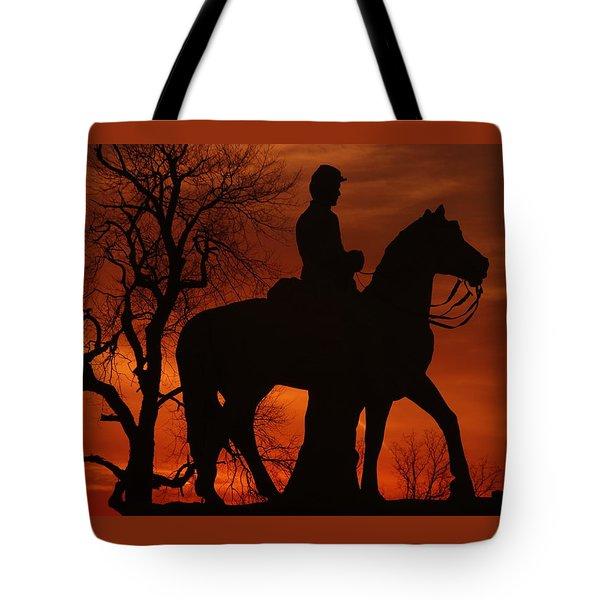 Tote Bag featuring the photograph Sky Fire - 8th Pennsylvania Cavalry Regiment Pleasonton Avenue Sunset Autumn Gettysburg by Michael Mazaika