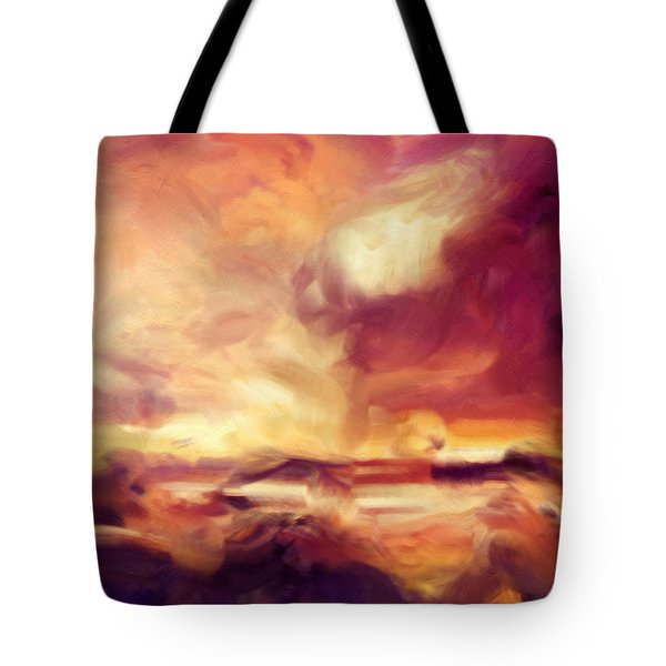 Tote Bag featuring the painting Sky Fire Abstract Realism by Isabella Howard