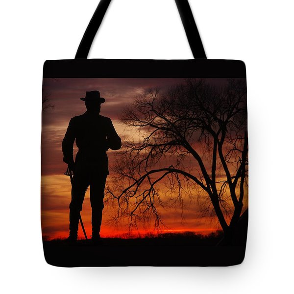 Sky Fire - Brigadier General John Buford - Commanding First Division Cavalry Corps Sunset Gettysburg Tote Bag by Michael Mazaika