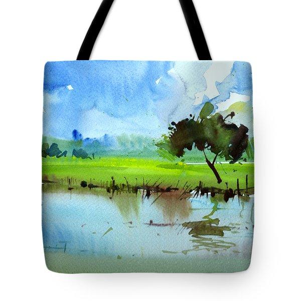 Sky N Farmland Tote Bag by Anil Nene