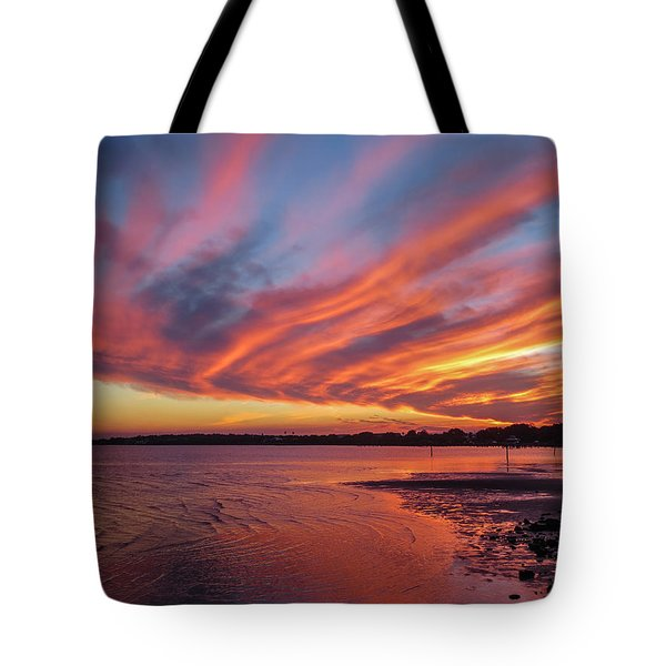 Sky On Fire Tote Bag by Jane Luxton