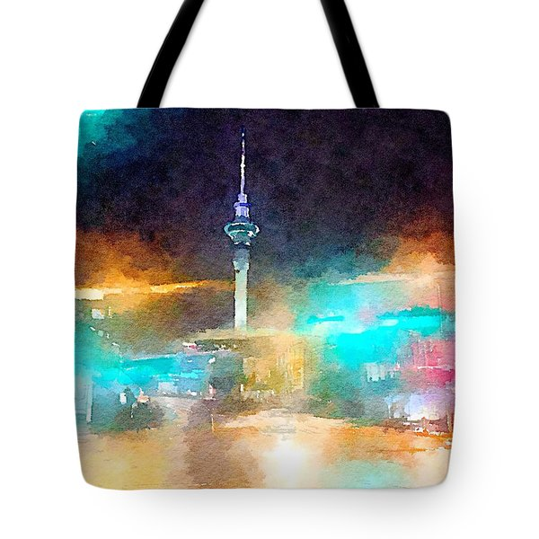 Sky Tower By Night Tote Bag