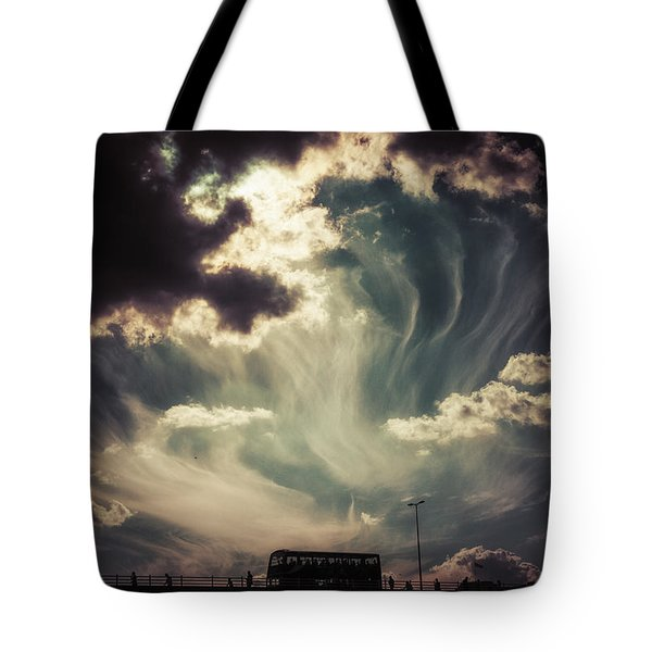 Sky Wisps Over A Double Decker Tote Bag