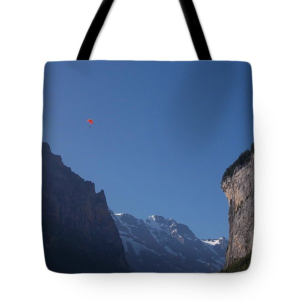 Skydiver Over Lauterbrunnen Tote Bag