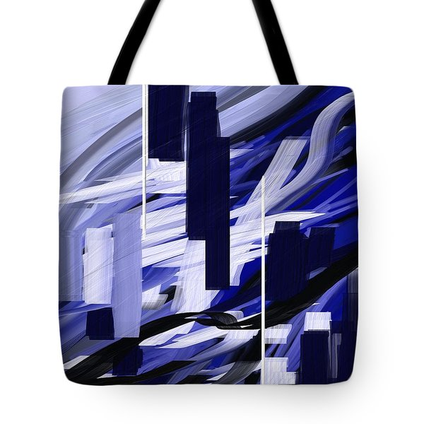 Tote Bag featuring the painting Skyline Reflection On Water by Jennifer Hotai