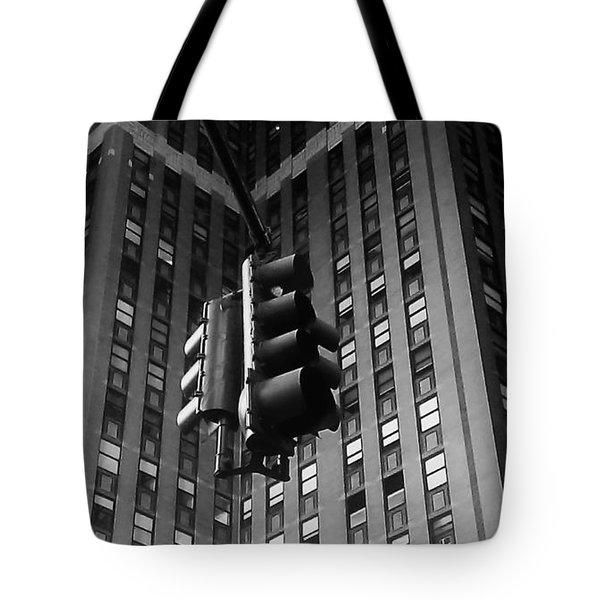 Skyscraper Framed Traffic Light Tote Bag