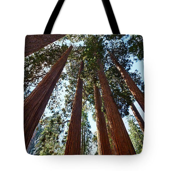Skyscrapers - A Grove Of Giant Sequoia Trees In Sequoia National Park In California Tote Bag
