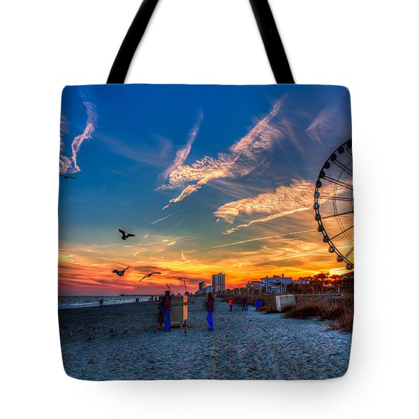 Skywheel Sunset At Myrtle Beach Tote Bag by Robert Loe