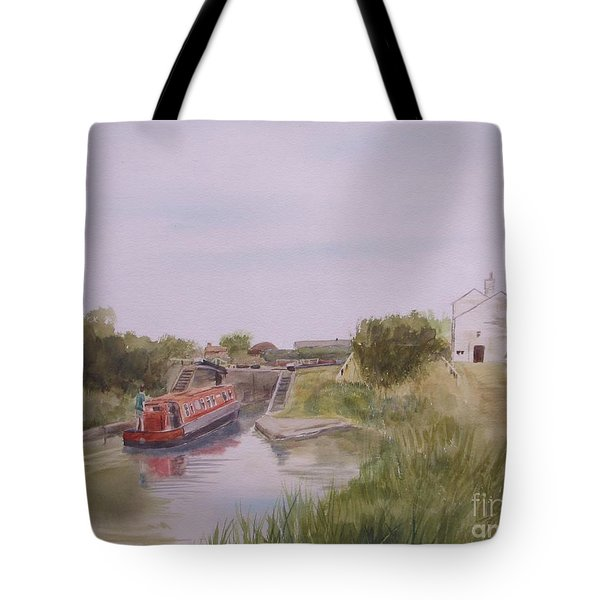 Tote Bag featuring the painting Slapton Lock by Martin Howard