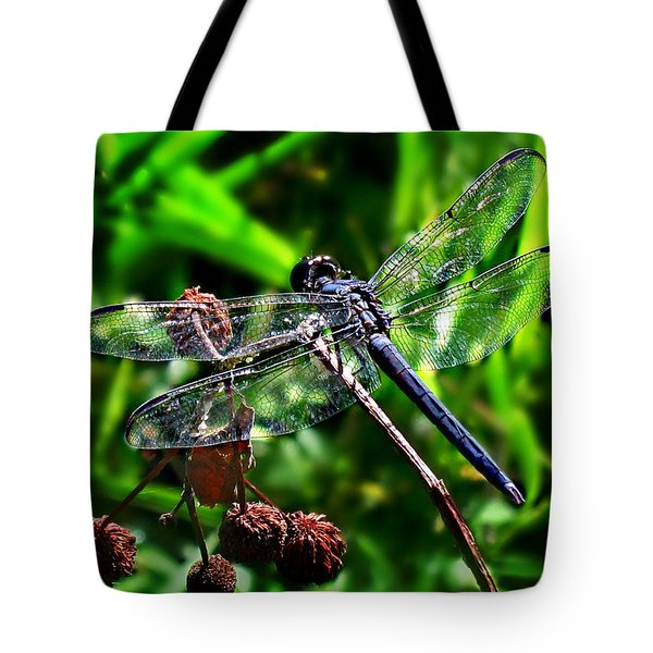 Tote Bag featuring the photograph Slaty Skimmer Dragonfly by William Tanneberger