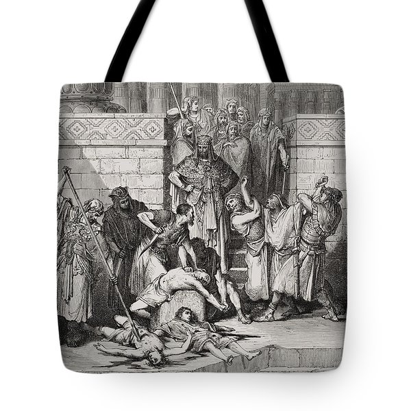 Slaughter Of The Sons Of Zedekiah Before Their Father Tote Bag by Gustave Dore