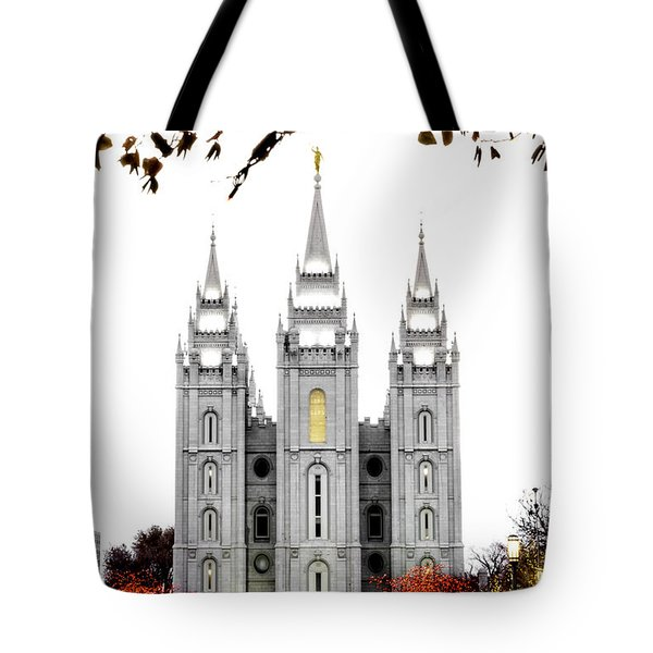 Slc White N Red Temple Tote Bag by La Rae  Roberts