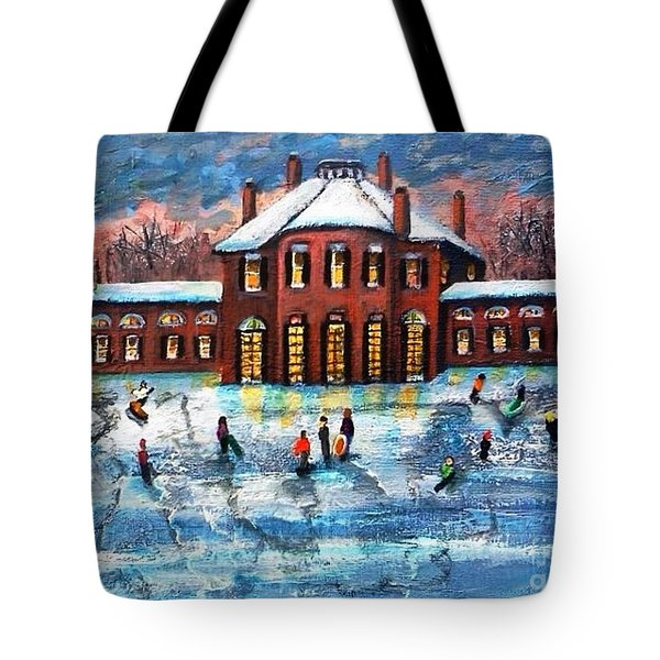Tote Bag featuring the painting Sledding At The Gore Estate by Rita Brown