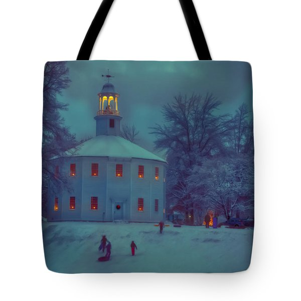 Sledding At The Old Round Church Tote Bag