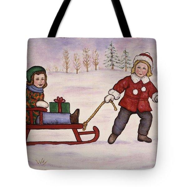 Sledding Tote Bag by Linda Mears