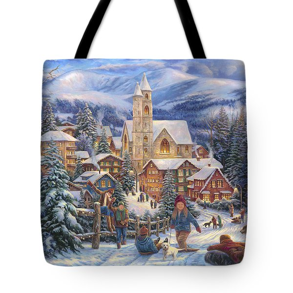 Sledding To Town Tote Bag