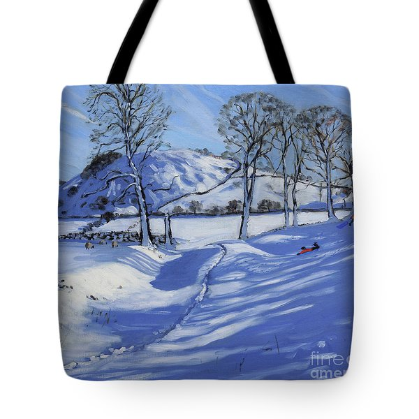 Sledging  Derbyshire Peak District Tote Bag by Andrew Macara