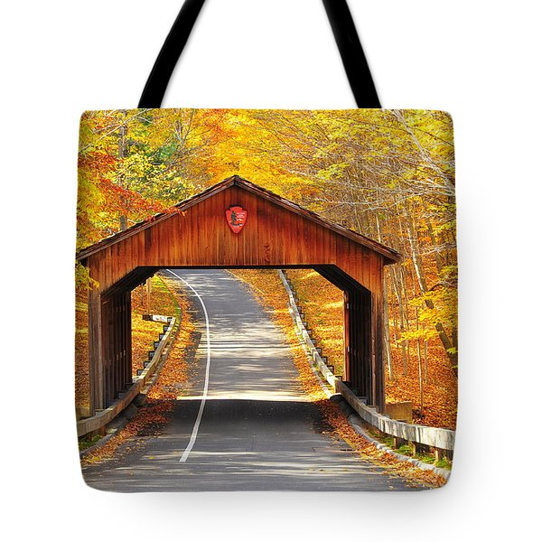 Sleeping Bear National Lakeshore Covered Bridge Tote Bag by Terri Gostola