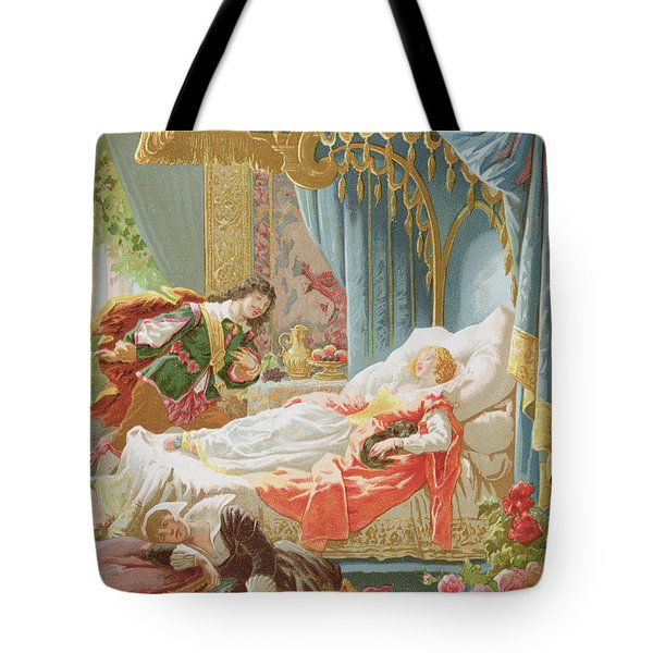 Sleeping Beauty And Prince Charming Tote Bag by Frederic Lix