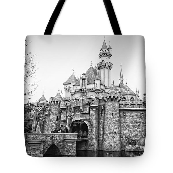 Sleeping Beauty Castle Disneyland Side View Bw Tote Bag by Thomas Woolworth