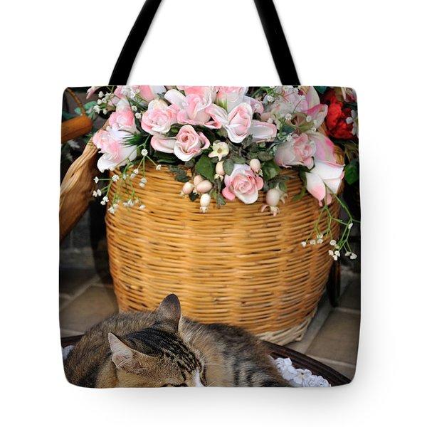 Sleeping Cat At Flower Shop Tote Bag