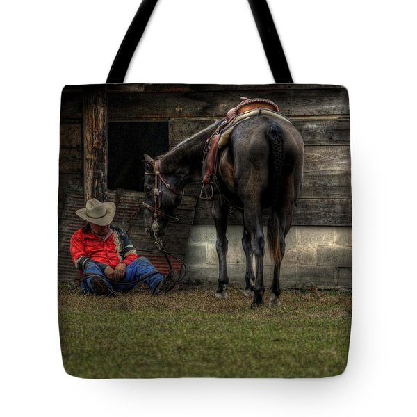 Sleeping Cowboy Tote Bag by Donald Williams