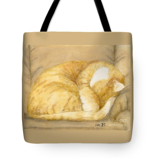 Sleeping Orange Tabby Cat Feline Animal Art Pets Tote Bag by Cathy Peek