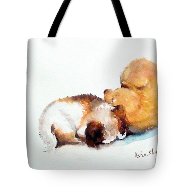 Sleeping Puppies Tote Bag