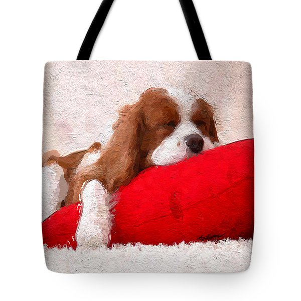 Sleeping Puppy On Red Pillow Tote Bag by Anthony Fishburne