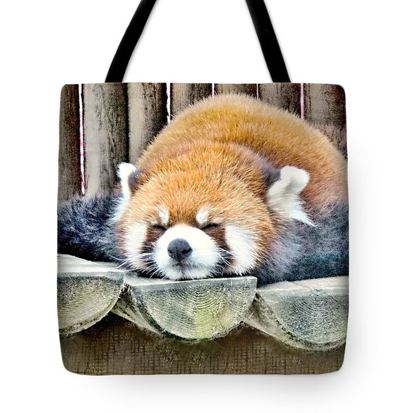 Sleeping Red Panda Bear Tote Bag