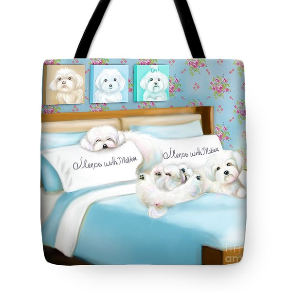 Sleeps With Maltese Tote Bag