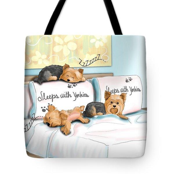Sleeps With Yorkies Tote Bag by Catia Cho