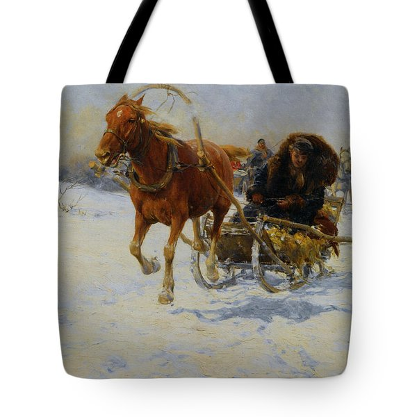 Sleigh Ride Tote Bag by A Wierusz Kowalski