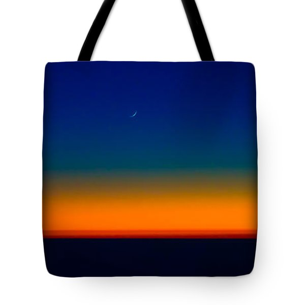 Tote Bag featuring the photograph Slice Of Moon In The Night Sky by Don Schwartz