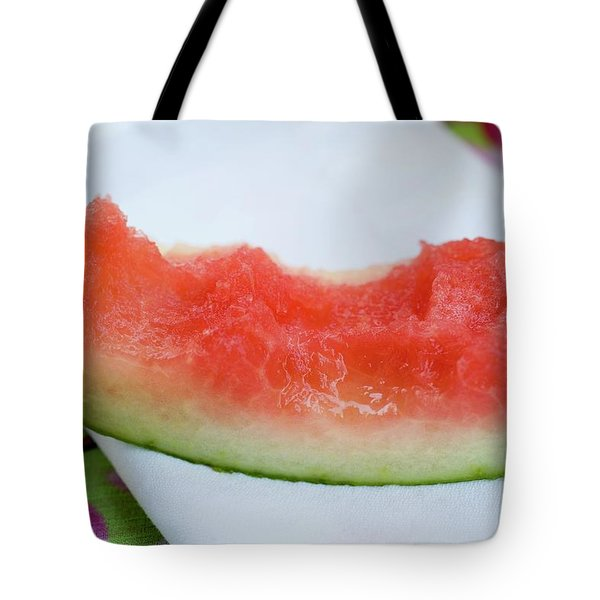 Slice Of Watermelon With Bites Taken On Fabric Napkin Tote Bag