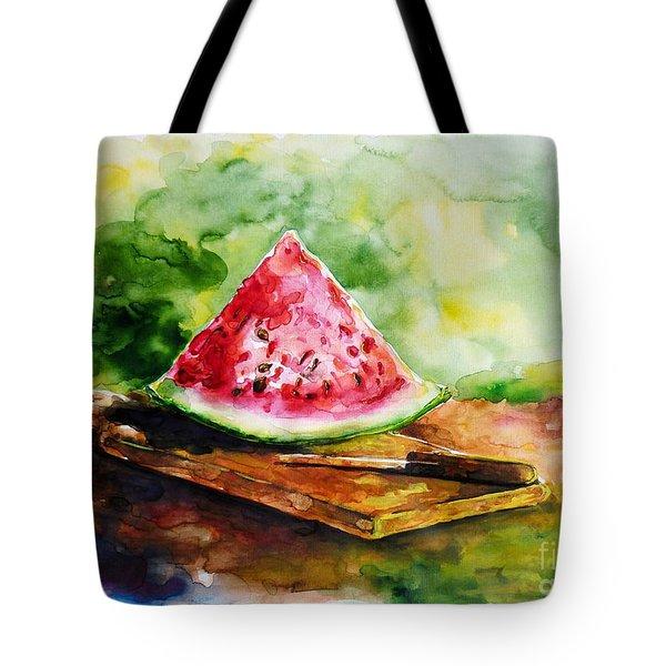Sliced Watermelon Tote Bag by Zaira Dzhaubaeva