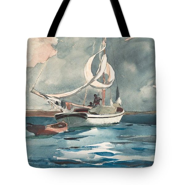 Tote Bag featuring the painting Sloop  Nassau Bahamas by Winslow Homer