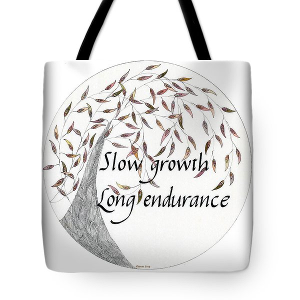 Tote Bag featuring the drawing Slow Growth. Long Endurance. by Dianne Levy
