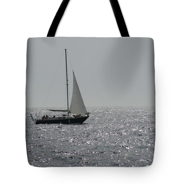 Small Boat At Sea Tote Bag