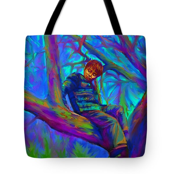 Small Boy In Large Tree Tote Bag
