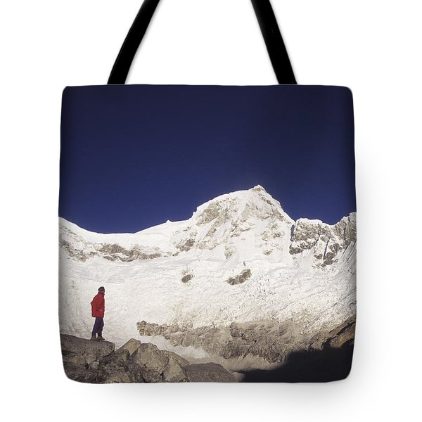 Small Climber Big Peaks Tote Bag by James Brunker