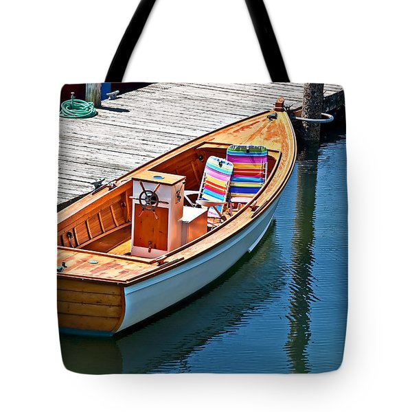 Tote Bag featuring the photograph Small Dinghy Boat Art Prints by Valerie Garner