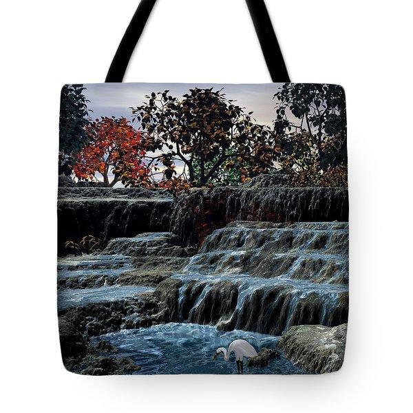 Small Falls At Sunset Tote Bag by John Pangia